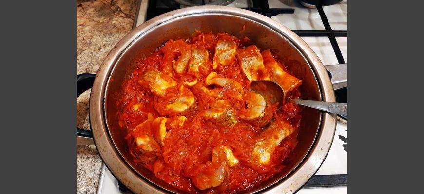 Ломтики щуки в томатный соус